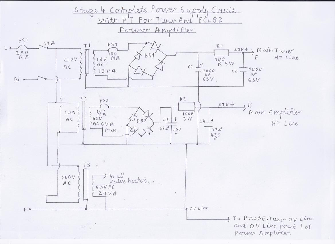 6 Valve Vhf Fm Pulse Counting Tuner Using Safe 25volt Dc Ht Line The Coil L1 On Radio Is Formed Pcb It39s Not Actually A Circuit Diagram Of Am Receiver Note This Stage 4 Complete Power Supply