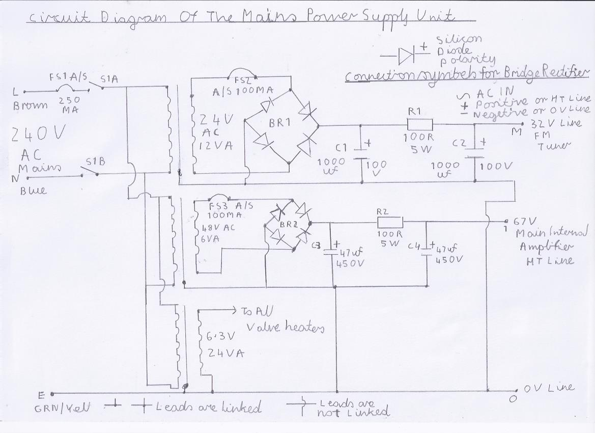 Power Supply Unit Wiring Diagram : Valve version of the mhz double conversion vhf fm