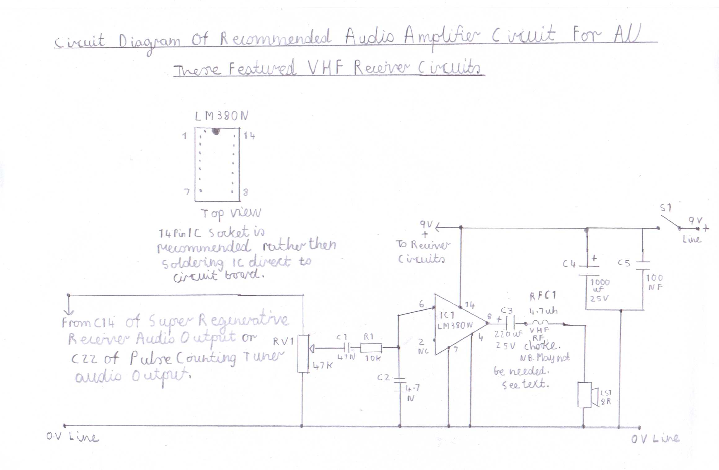 Progressive Crystal Set To Regenerative Receiver Using Safe 12v Ht Line Onetube Transmitter Schematic Diagrams And Circuit Descriptions Diagram Of Recommended Lm380 Audio Amplifier Suitable For All Versions These Vhf Receivers