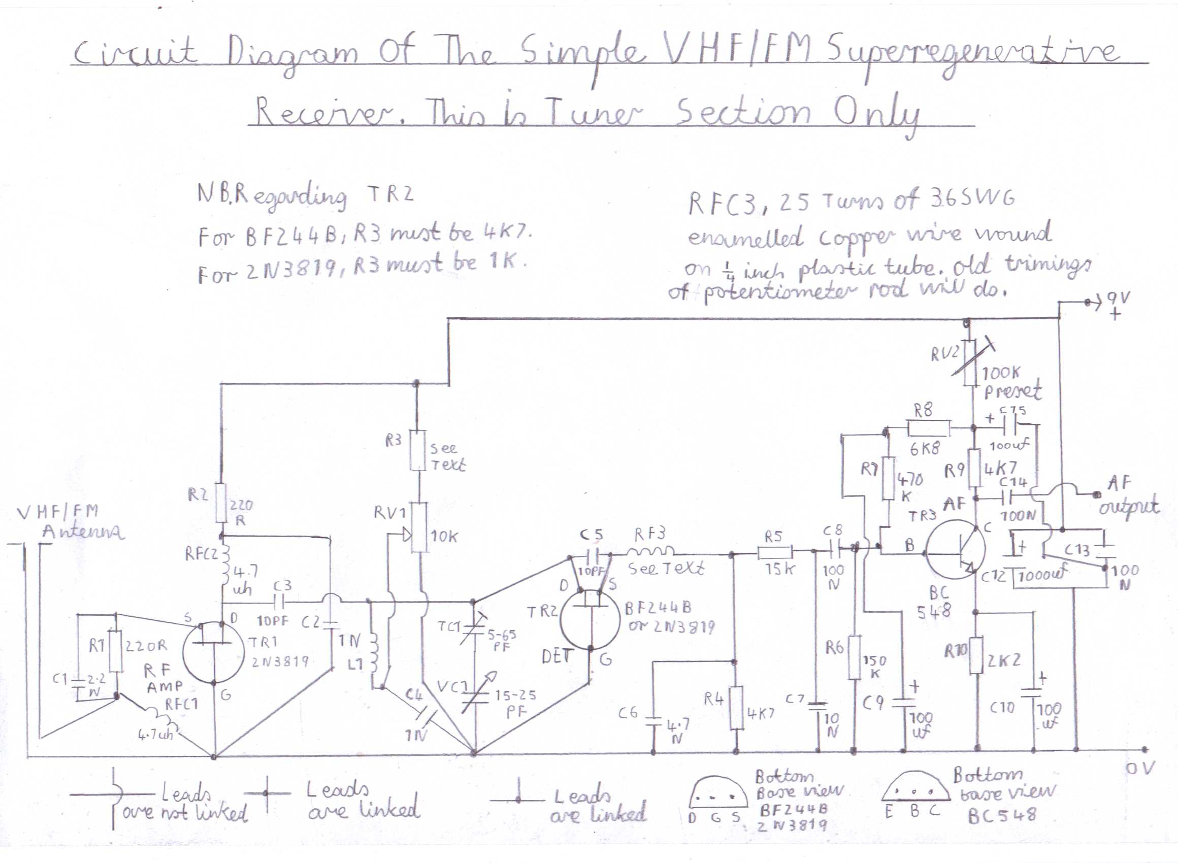 Progressive Crystal Set To Regenerative Receiver Using Safe 12v Ht Line Single Transistor Radio Circuit Electronic Projects Diagram Of The Simple Superregenerative Vhf Fm An Untuned Rf Stage Is Included For Isolation Detector From Antenna