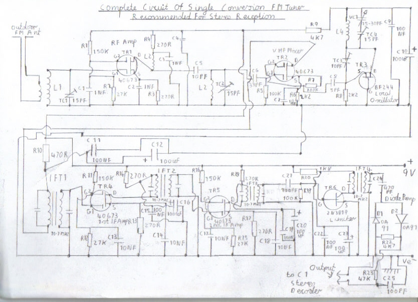 single conversion 6 transistor 10 7 mhz pulse counting receiver complete circuit diagram of the single conversion fm receiver section this circuit as it stands is designed for the stereo decoder