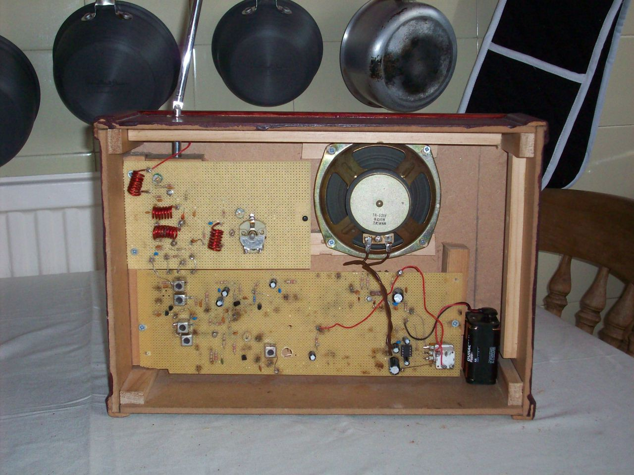 Transistor Fm Superhet Receiver Make This Simple Radio Circuit Using A Single Electronic Back View Of How The Rf Circuits In My Conversion Looks After Converting To Double Design