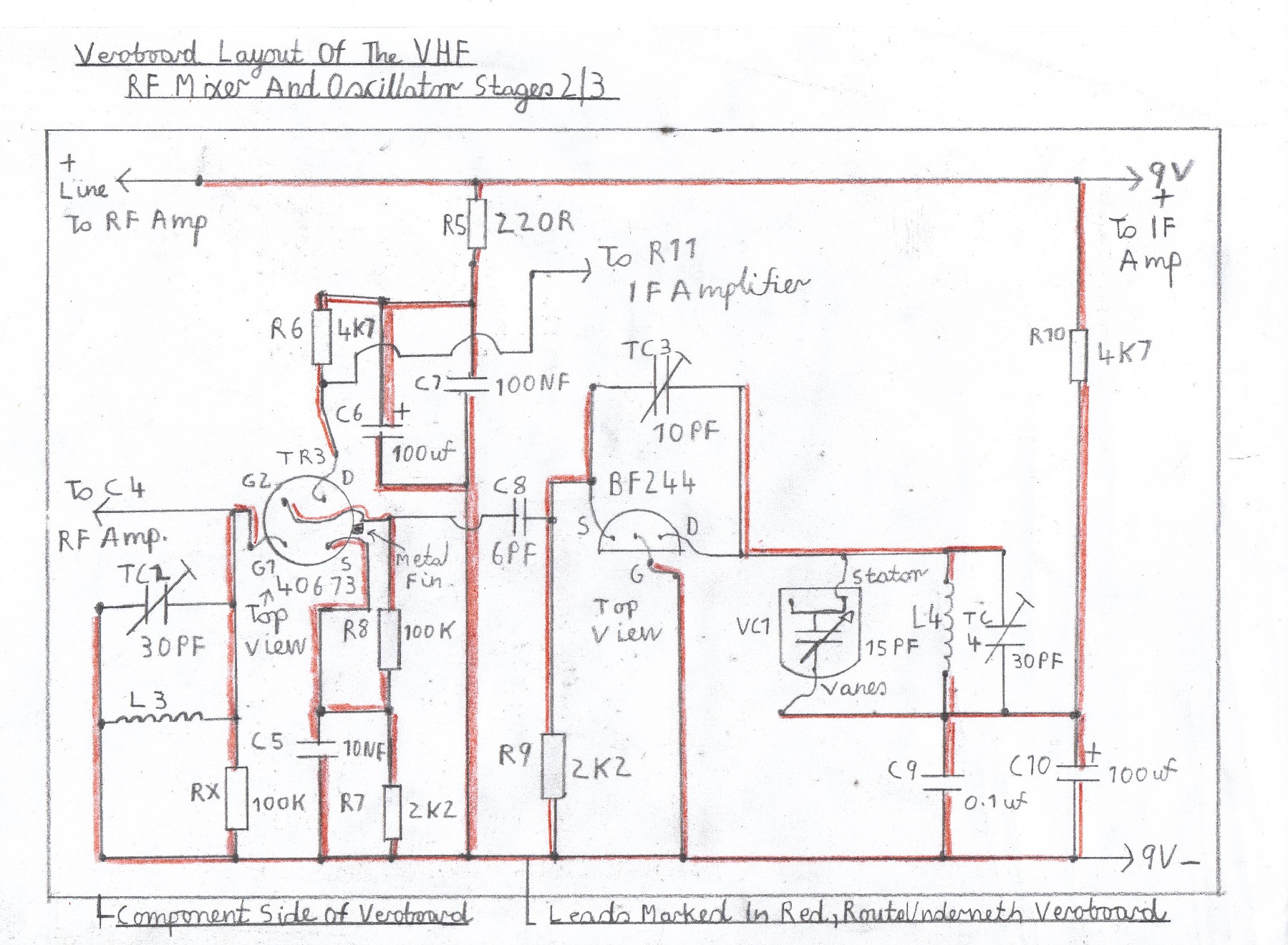 Transistor Fm Superhet Receiver 1967 F100 Heater Wiring Diagram Of The Vhf Mixer And Oscillator This Stage Is Wired Tested After If Amplifier Known To Work Ok