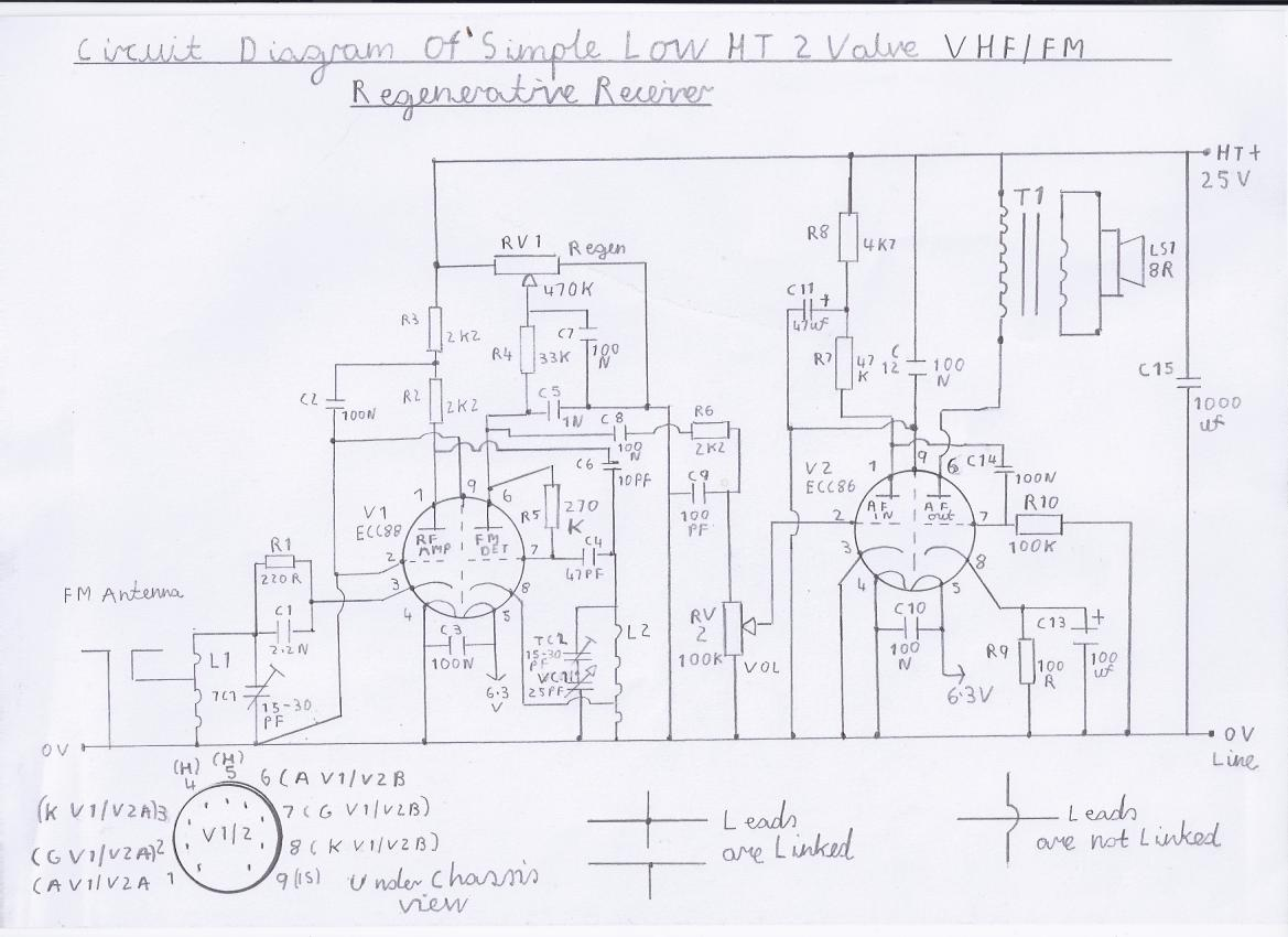 progressive crystal set to regenerative receiver using safe 12v ht line Circuit Schematic Diagram Ampli circuit diagram of vhf fm version of the 2 valve low ht regenerative receiver nb only performs well with outdoor antenna or in good reception area