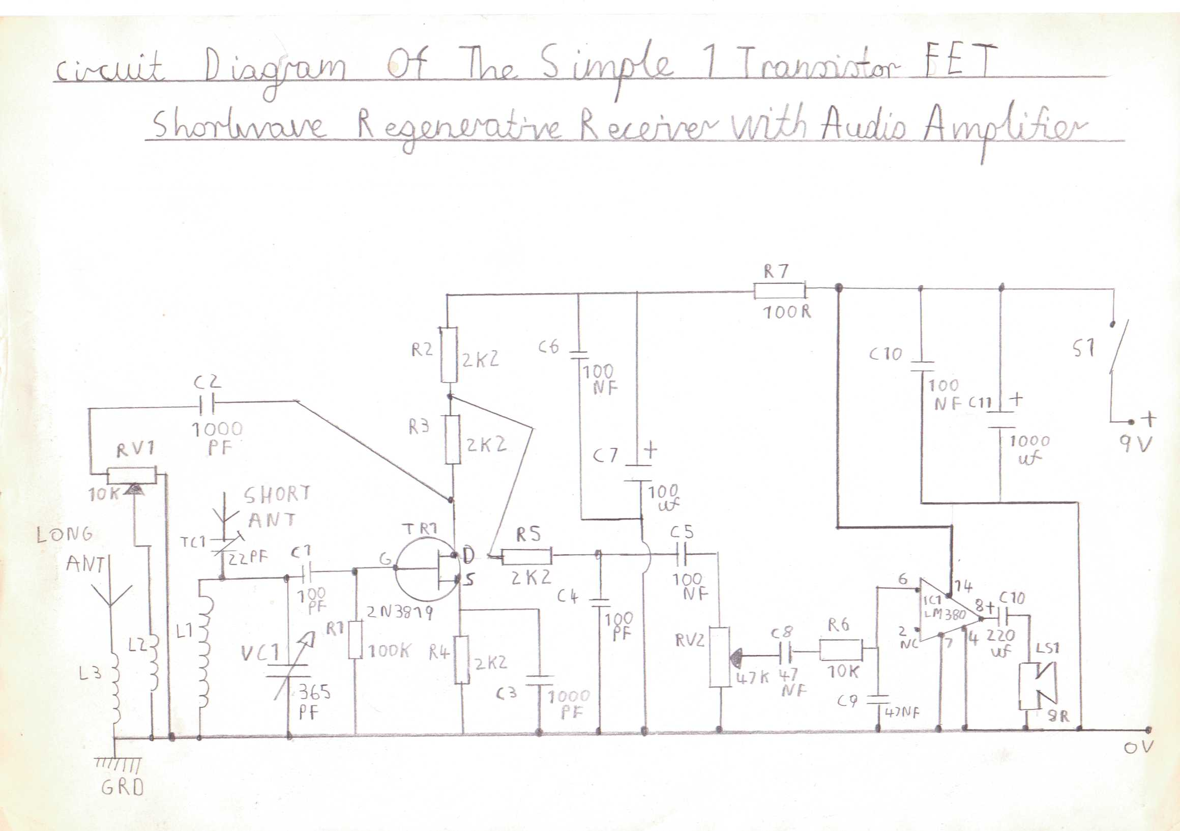 Progressive Crystal Set To Regenerative Receiver Using Safe 12v Ht Line Audio An Lm380 Amplifierchip Is Used In The Following Circuit Diagram Of 1 Transistor Fet Version Trf Shortwave With Amplifier