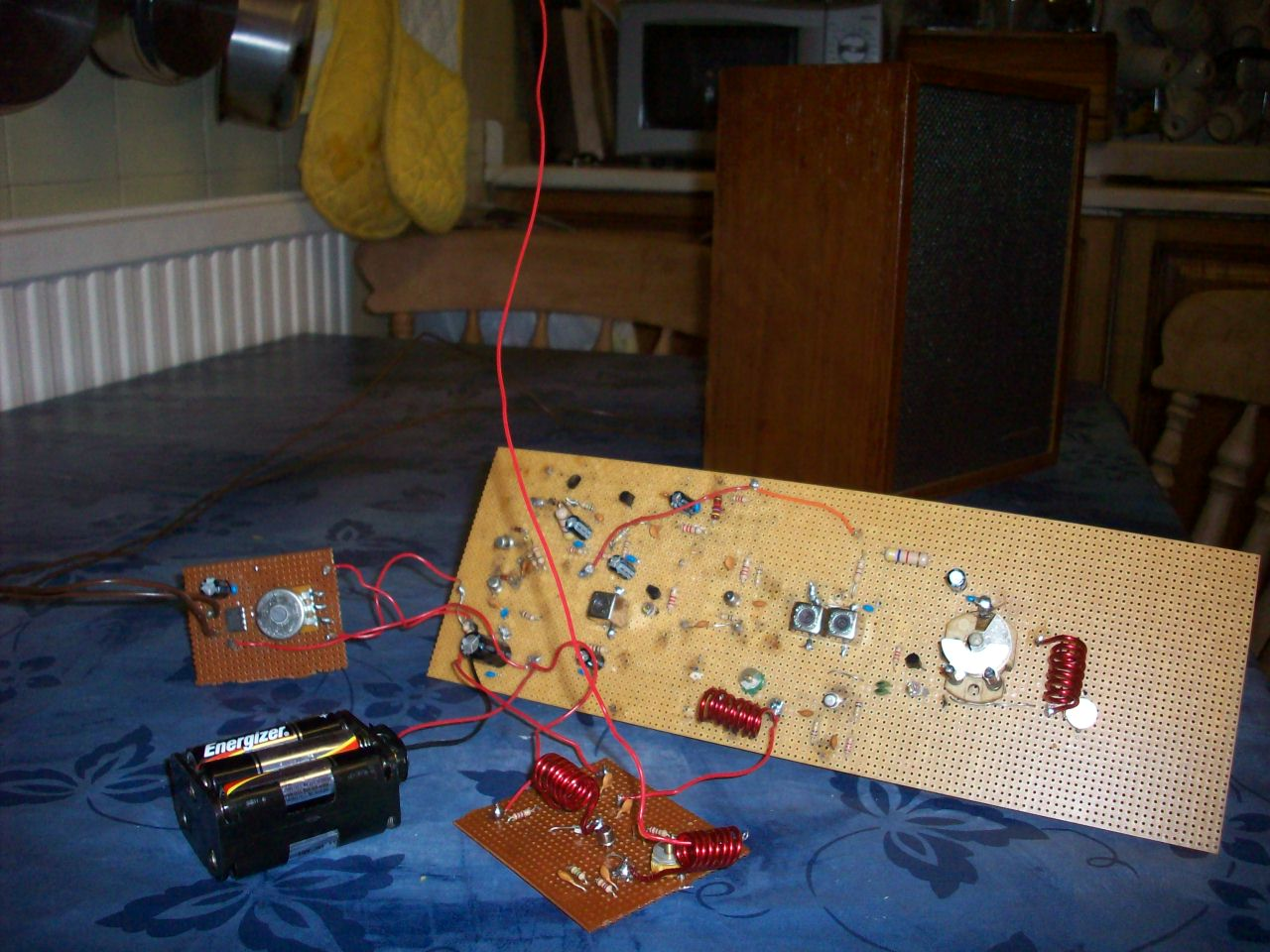 Complete original prototype version of my home built, Double Conversion  Pulse Counting FM Receiver, Pictured working with a short antenna.