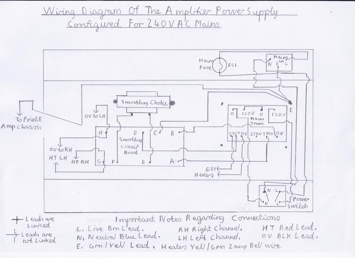 3 valve 3 watt stereo amplifier wiring diagram of the ht and heater power supply chassis for 240v ac mains please refer to picture 6 for information on wiring for 120v ac operation
