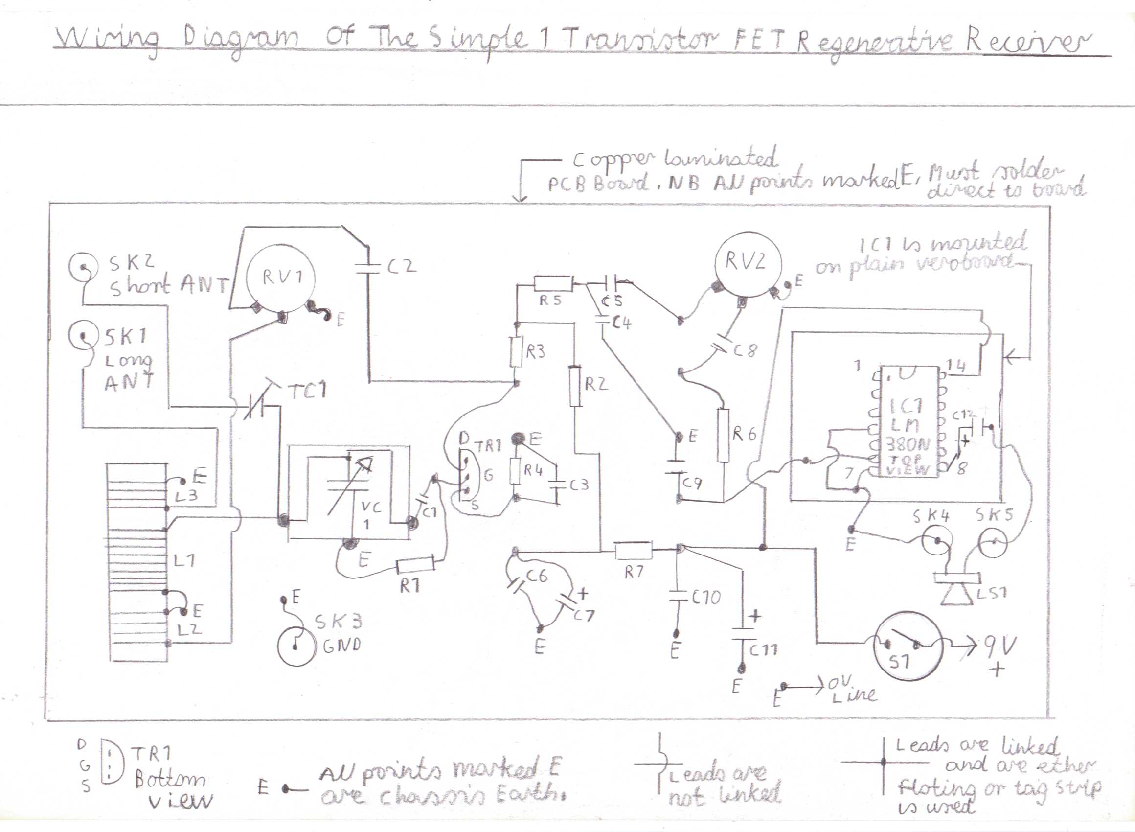 Progressive Crystal Set To Regenerative Receiver Using Safe 12v Ht Line Make This Simple Fm Radio Circuit A Single Electronic Wiring Diagram Of The 1 Transistor Basic Is Wired Copper Cladboard And Tagstrip Similar Valve Circuits